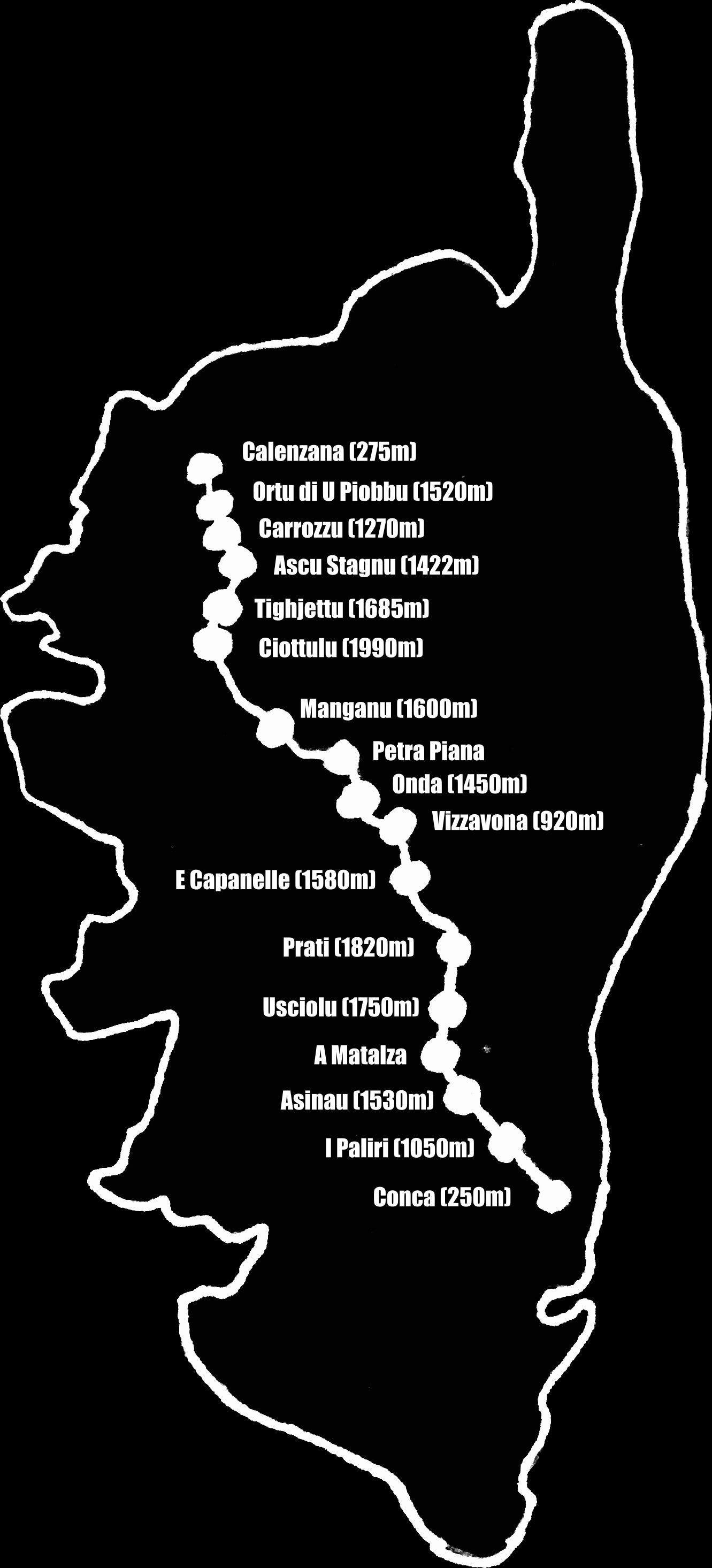 carte GR20 étapes